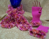 Pink Fingerless Mittens and Scarf Hand Knitted