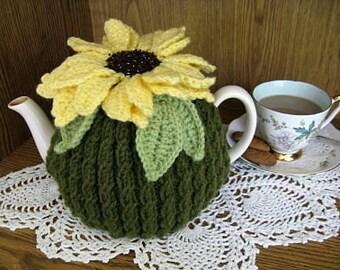Pattern, Sunflower Teacosy, knit, crochet PDF
