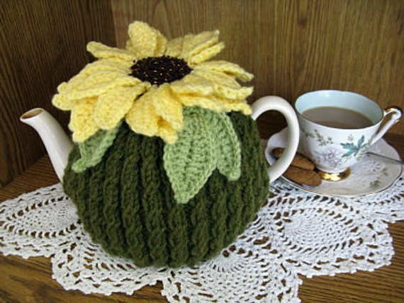 Knit Sunflower Tea Cozy Pattern