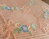 1950s Plush Heavy Dusty Peach Chenille Bedspread RESERVED FOR SUSAN