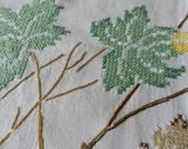 Vintage Cross Stitched Leaf Tablecloth