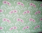 ON SALE  RJR Bungalow 6051-3 Sage green with pink poppy, one yard