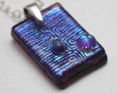 Fused Dichroic Glass pendant necklace - Retro Plum