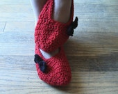 PRICE REDUCED Women's Slippers Mary Jane in Red with Black Bow by Kim White Creations on Etsy