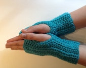 Fingerless Gloves Wrist Hand Warmers in Turquoise Cerulean Blue by Kim White Creations on Etsy