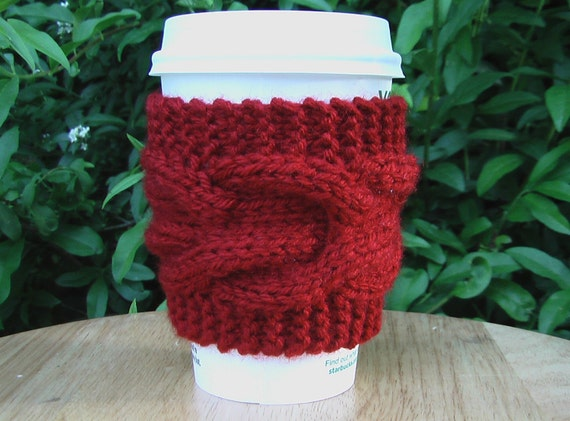 Cabled Coffee Cozie in Cranberry Red