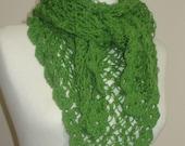 Green  Medium Triangle Shawl and Scarf - Cobweb Knitting