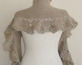 Taupe Spring Garden Shawl and Scarf with Crochet Lace - For her mom gift