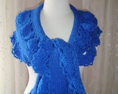 EXPRESS DELIVERY, Sapphire  Spring Garden  Shawl and Scarf with Crochet Lace
