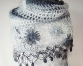 SPECIAL SALE Degrade Grey and White Mohair  Daisy Flower Triangle Shawl - For her mom gift - Expres Delivery
