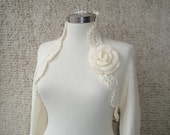 Reserved for Cynthia -  Dreamy Bridal Ivory Shrug Knitting Undecorated Long sleeved NR:01 - Made to Order