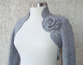 Made to Order- Dreamy Bridal Grey Shrug, Knitting Shrug,  Undecorated Long sleeved NR:01