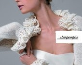 Cathedral Bridal Mohair Ivory Shrug for your wedding Knitting matchless  Long sleeved