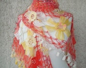 BIG SALE  Sunshine Mohair Flower Triangle Shawl - For her mom gift