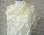 SPECIAL SALE - Ivory  Triangle Cilium Bridal Shawl - Express Delivery -