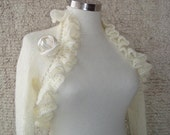 SPECIAL SALE, Dreamy Bridal Ivory mohair Shrug, Long sleeved, NR:02 - Made to Order - Expres Delivery