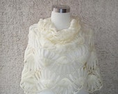 Reserved for Vivek , Pretty Ivory  Mohair Rectangle Bridal Shawl ( Express Delivery )