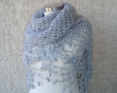 SPECIAL SALE - Grey cashmere Mohair  Daisy Flower Triangle Shawl - For her mom gift - Express Delivery -
