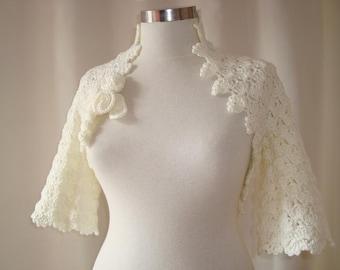Dreamy Bridal Ivory Crochet Martha Stewart Shrug - Express Delivery -