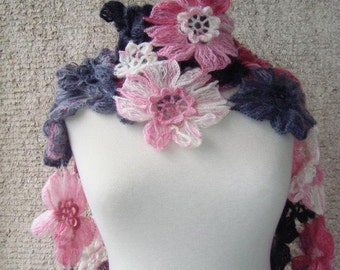 Grey and Pink  Daisy Flower Scarf - Scarflette