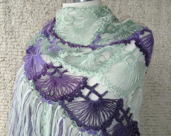 Purple and Green Mohair Triangle Cilium  Shawl