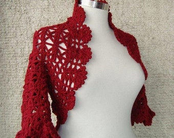 SPECIAL SALE Burgundy Crochet Shrug  Any Season - Express Delivery