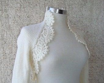 Dreamy Bridal Ivory Shrug, Knitting Long sleeved
