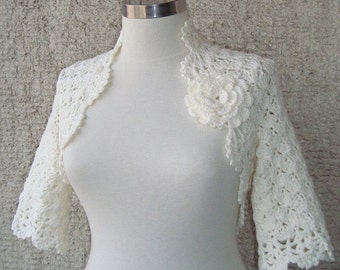 Ivory Dreamy Bridal Cotton Crochet Shrug - Nr : 02 - Express Delivery -