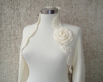 Dreamy Bridal Ivory Shrug Knitting Undecorated Long sleeved NR:01