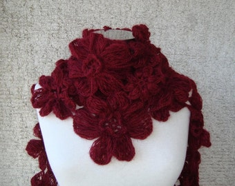 SPECIAL SALE - Burgundy Daisy Flower Cashmere Mohair Scarf , Scarflette,shawl