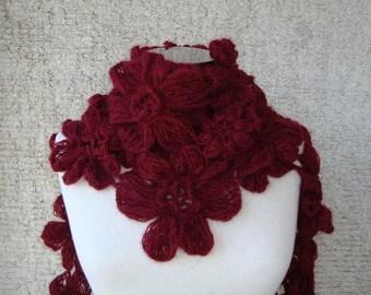 SPECIAL SALE - Burgundy Daisy Flower Cashmere Mohair Scarf , Scarflette,shawl