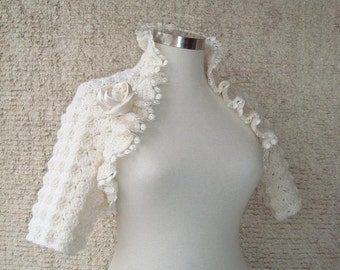 EXPRESS DELIVERY Dreamy Bridal Ivory Wool Shrug, Nr :03 - Express Delivery