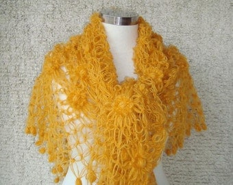 Mustard Yellow Cashmere  Mohair Triangle Shawl, Full Daisy Flower