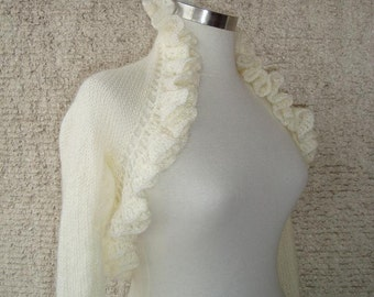 Dreamy Bridal Ivory mohair Shrug, Long sleeved, NR:02 - Made to Order - Expres Delivery