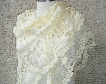 Ivory  Triangle Cilium Bridal Shawl - Express Delivery -