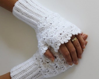 White crochet Fingerles Gloves-Christmas Gift