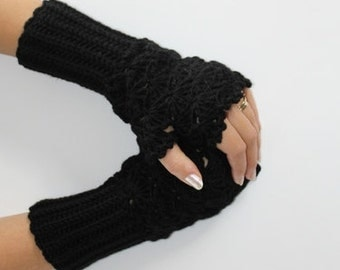 Black crochet Fingerles Gloves-Christmas Gift