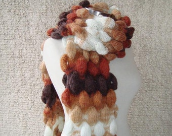 SPECIAL SALE - Bubble Scarf, Mohair, Brown, Caramel, Terracotta, Ivory - Express Delivery