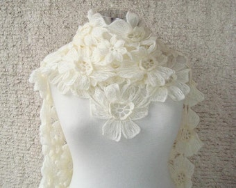 Ivory Daisy Flower Scarf , Scarflette,shawl - Made To Order