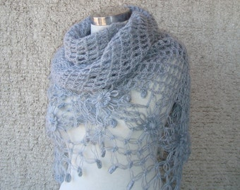 Grey cashmere Mohair  Daisy Flower Triangle Shawl - For her mom gift - Express Delivery -