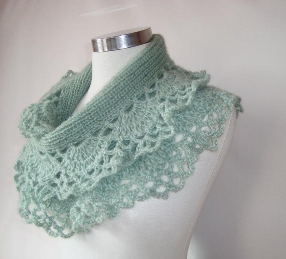 Nile Green Spring Garden Shawl and Scarf with Crochet Lace