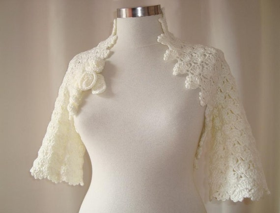Reserved for Lisa - SPECIAL SALE - Dreamy Bridal Ivory Crochet Martha Stewart Shrug - Express Delivery -