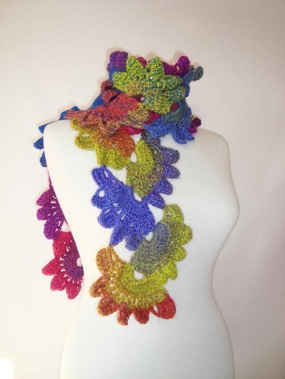 Rainbow color  Ladder  Flower Scarf - Scarflette