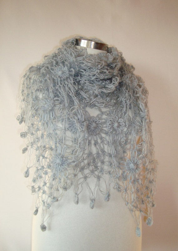 SPECIAL SALE Grey cashmere Mohair Daisy Flower Triangle Shawl - For her mom gift