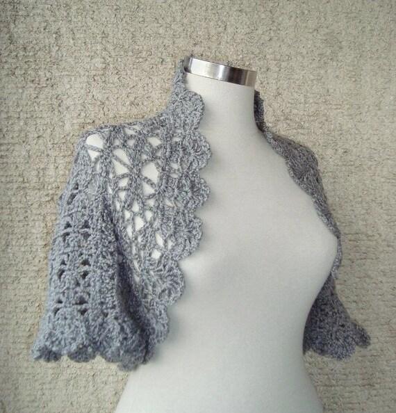 EXPRESS DELIVERY  Grey Crochet Shrug / Any Season