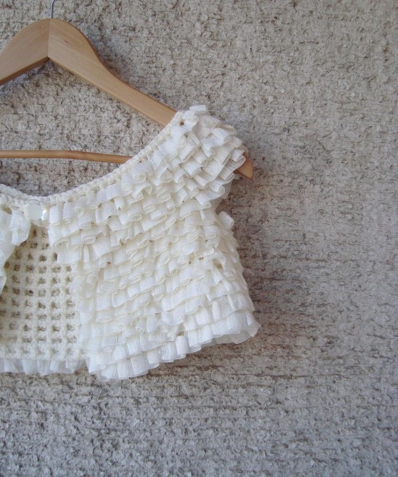 SPECIAL SALE - Ivory Frilly  Cotton Bridal Shrug - Express Delivery
