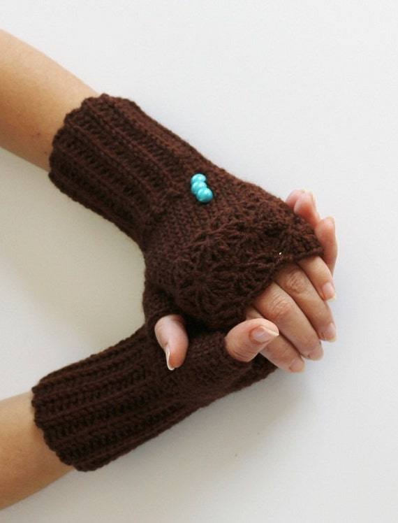 SPECIAL SALE Chocolate Brown crochet Wool Fingerles Gloves-Christmas Gift