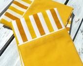 set of two vintage pillowcases, gold stripe