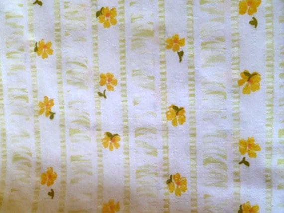 vintage sheet pillowcase, yellow striped floral