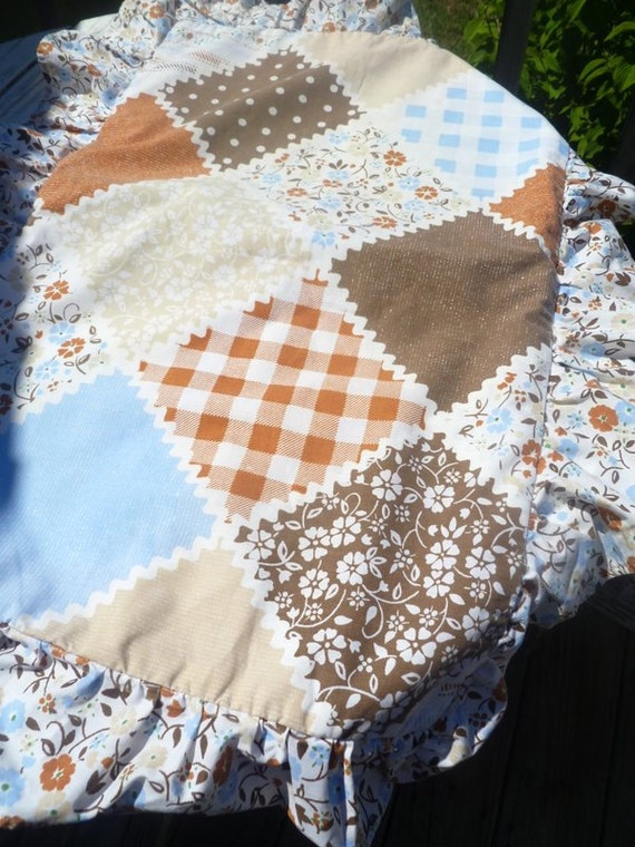 vintage pillowcase sham, blues and browns